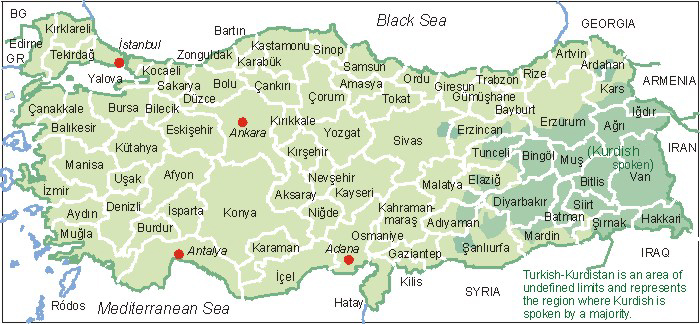 Tuerkei Karte Map Of Turkey