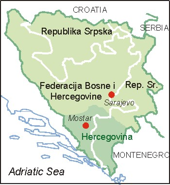 Bosnien Herzegovina Karte Map Of Bosnia And Hercegovina