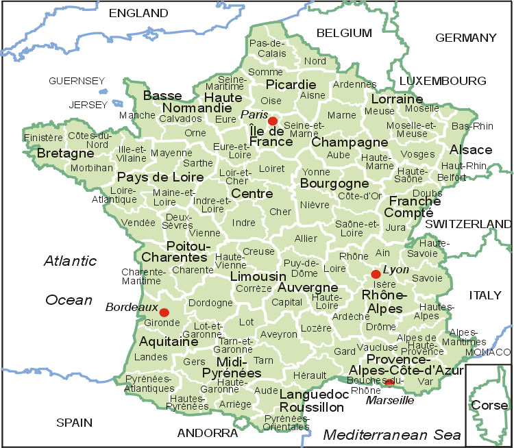 Frankreich Karte Map Of France