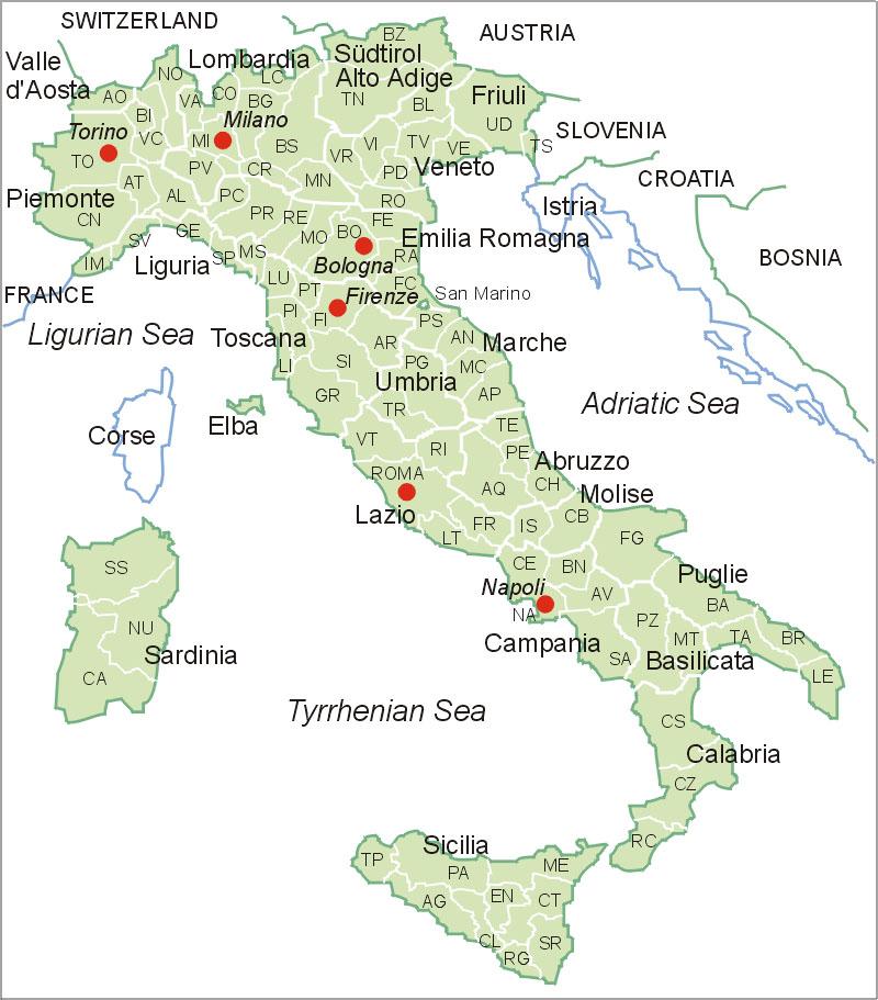 Italien Karte Map Of Italy