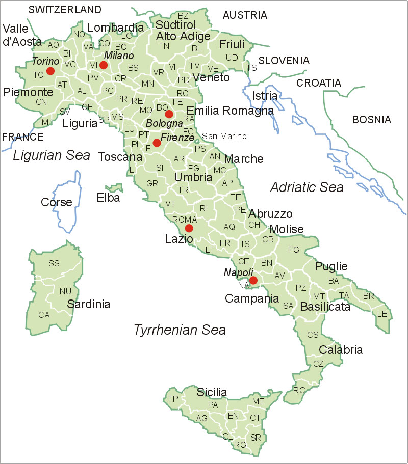 italien landkarte verona Italien Karte / Map of Italy