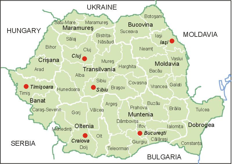 Landkarte Rumänien (Karte Bezirke)