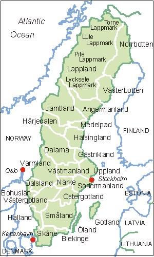 Schweden Karte Regionen.Schweden Karte Map Of Sweden