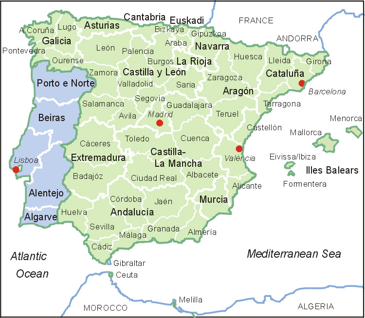 Spanien Regionen Karte.Spanien Und Portugal Karte Map Of Spain And Portugal