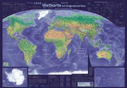 Weltkarte mit Originalschriften
